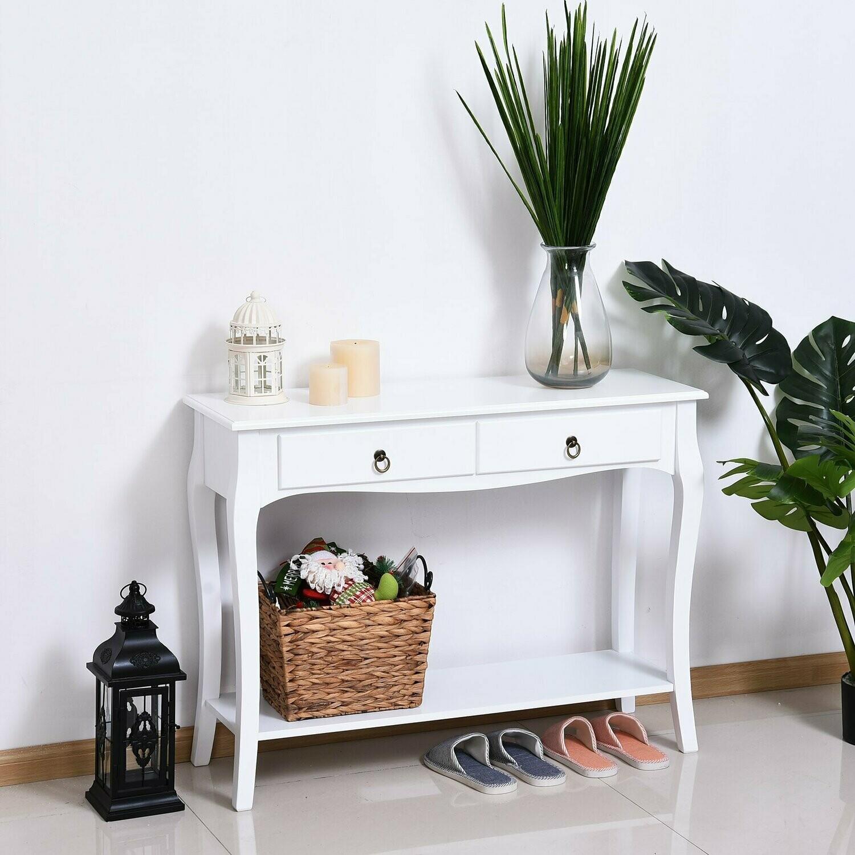 HOMCOM® Konsolentisch Konsole Sideboard mit 2 Schubladen Weiss