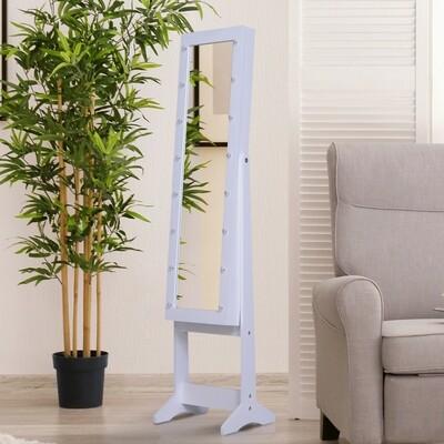 HOMCOM® Spiegelschrank LED Schmuckschrank mit Spiegel Standspiegel Schmuckregal abschließbar Weiss