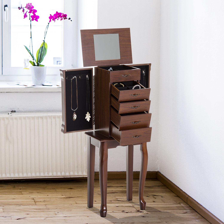 HOMCOM® Schmuckschrank mit Spiegel Schmuckkasten Holz Braun