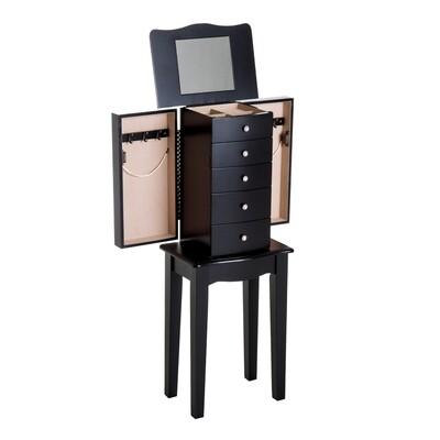 HOMCOM® Schmuckschrank mit Spiegel Schmuckkasten Holz Schwarz