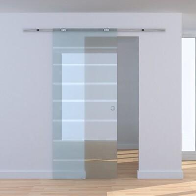 HOMCOM® Teilsatinierte Glasschiebetür | Schiebetür | 205 x 90 cm | Transparent
