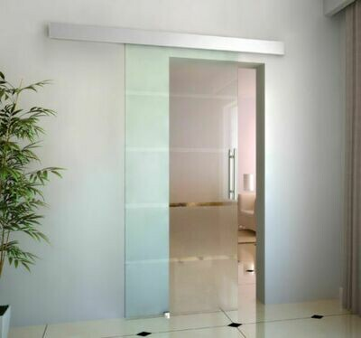 HOMCOM® Glasschiebetür satiniert | Glas, Edelstahl, Aluminium | 90 x 205 cm | Silber und Transparent