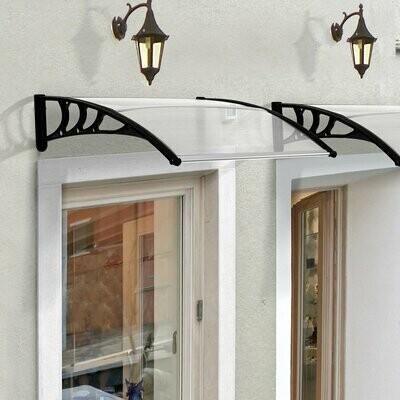 Outsunny® Vordach Haustürvordach 100 x 80 cm Pultvordach Überdachung Polycarbonat Transparent