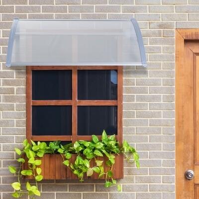 Outsunny® Vordach mit Polycarbonatplatten L120 x W80 x H28cm