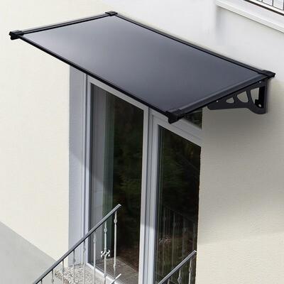 Outsunny® Vordach Überdachung Pultvordach taubengrau 140 x 90 x 22,5cm