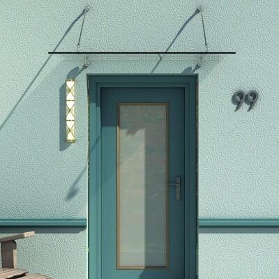 HOMCOM® Glas-Vordach   Türvordach   Sicherheitsglas, Edelstahl, Klarglas   150 x 90 x 1,2 cm