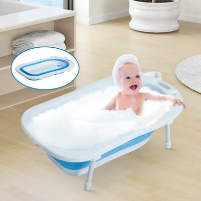 HOMCOM® Babybadewanne mit Stützbeinen zusammenklappbar 89cm Blau+Weiss