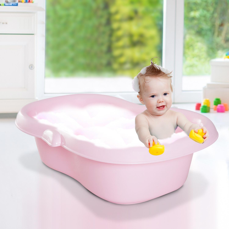 HOMCOM® Babybadewanne mit Stöpsel Pinguin Rosa 86x55x27cm