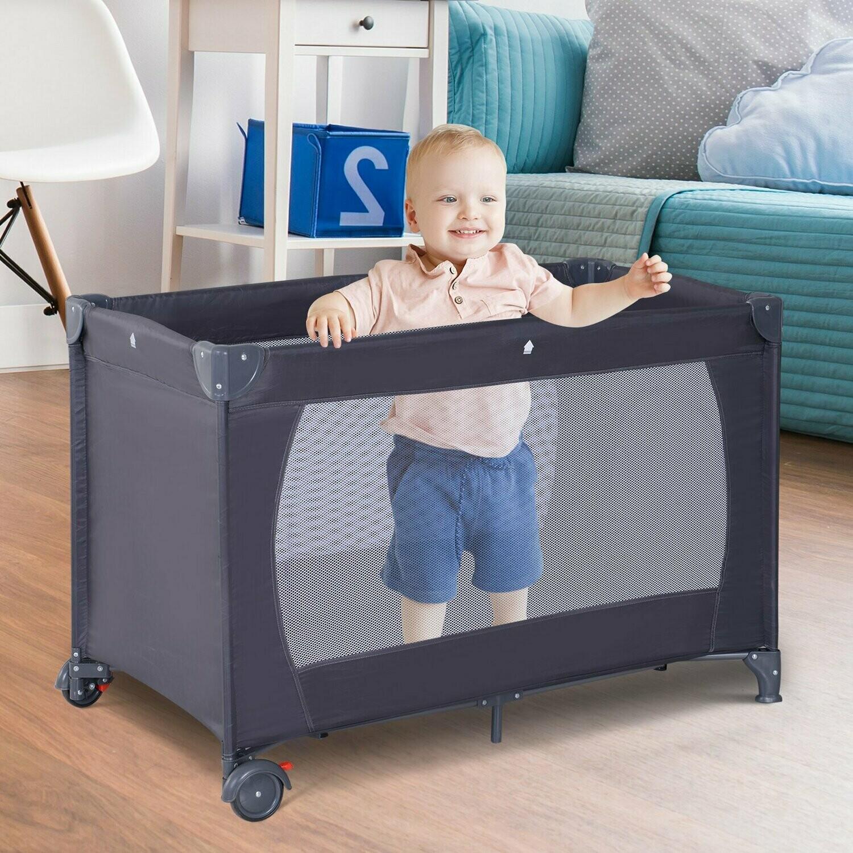 HOMCOM® Babybett Kinderreisebett klappbar Klappbett mit Matratze + Rollen Tragetasche Schwarz 120 x 60 x 75 cm
