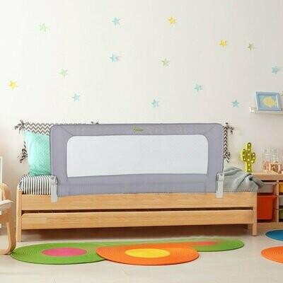 HOMCOM® Bettgitter Rausfallsschutz Bettschutzgitter für Kinder & Erwachsene Grau 150 x 70 x 38 cm