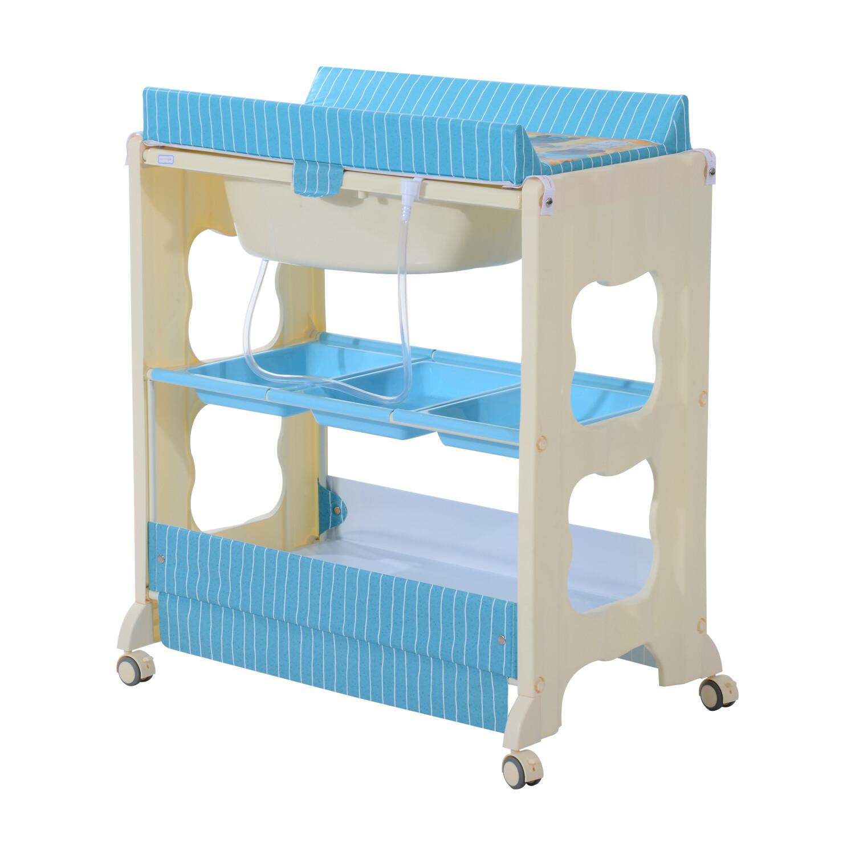 HOMCOM® Baby Wickeltisch mit Badewanne Mobil blau