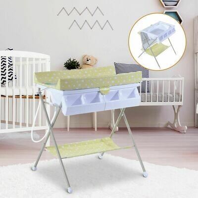 HOMCOM® Baby Wickeltisch mit Badewanne klappbar Gelbgrün