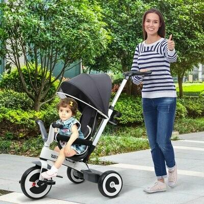 HOMCOM® 4 in 1 Kinderdreirad Kinder Fahrrad Kinderwagen Schubstange Sonnendach Sicherheitsgurt ab 18 Monate dunkelgrau