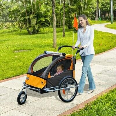 HOMCOM Kindertransporter Fahrradanhänger Kinderwagen Velo-Anhänger | Stahl, Oxford | 130 x 90 x 110 cm | Orange