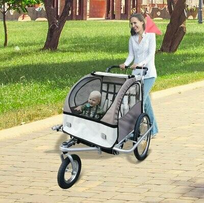 HOMCOM® Kinderanhänger 2 in 1 Fahrradanhänger Velo-Anhänger Jogger 360° kaffebraun-weiss