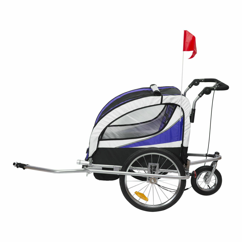 Outlet: HOMCOM Kindertransporter Velo-Anhänger, Buggy   Eisen, Oxford   106 x 90 x 105 cm   Lila, Weiß, Schwarz
