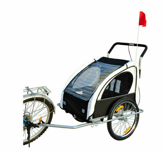 Outlet: HOMCOM® 2 in1 Kinderfahrradanhänger | Jogger Velo-Anhänger | 70 x 58 x 55 cm | Weiss, Schwarz