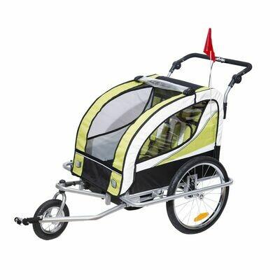 HOMCOM® Kinderanhänger 2 in 1 Fahrradanhänger Jogger Velo-Anhänger 360° Drehbar Grün-Schwarz