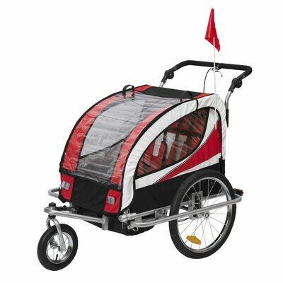 HOMCOM® 2 in 1 Fahrradanhänger und Kinderwagen | Velo-Anhänger | 106 x 90 x 105 cm | Rot, Schwarz