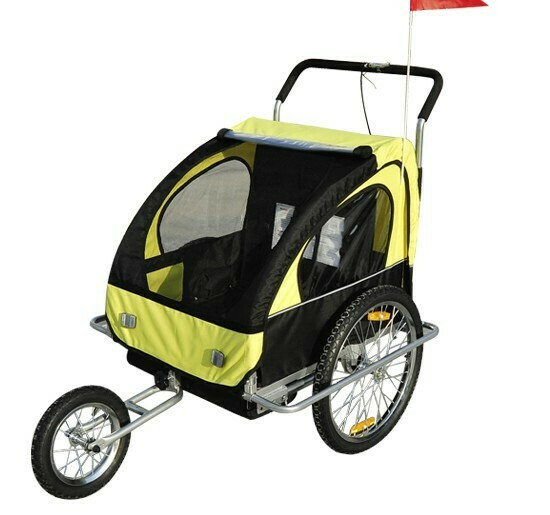 HOMCOM® 2 in1 Kinderfahrradanhänger Fahrradanhänger Kinder Velo-Anhänger mit Fahne/ Jogger gelb-schwarz