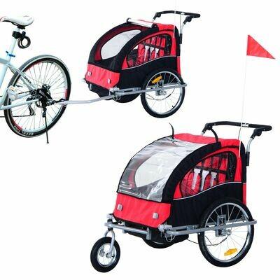 HOMCOM® FVelo-Anhänger Fahrradanhänger Kinder Rot-Schwarz 2 in 1 Jogger