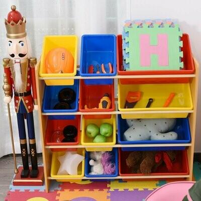 HOMCOM® Kinderregal Kinderzimmerregal Aufbewahrungsregal 12 Kästen Rundkantig Mehrfarbig 86 x 26,5 x 78 cm