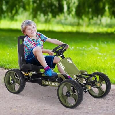 Outlet: HOMCOM® Tretauto Army Go Kart Tretfahrzeug KinderspieLzeug ab 3 Jahre Grün 105 x 54 x 61cm