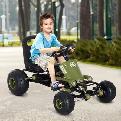 HOMCOM® Tretauto Army Go Kart Tretfahrzeug KinderspieLzeug ab 3 Jahre Grün L99 x B65 x H56cm