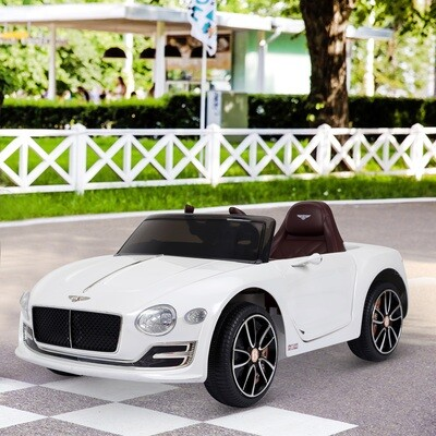 HOMCOM Elektro Kinderauto | Bentley | Metall, Kunststoff | 108 x 60 x 43 cm | Weiß