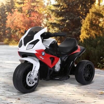 HOMCOM® Elektro Kindermotorrad Lizenziert von BMW 18-36 Monaten Elektro-Dreirad mit Akku Rot 66 x 37 x 44 cm