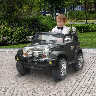 HOMCOM® Kinderauto Elektroauto Jeep Kinderfahrzeug Kinderfahrzeug Kinder Elektro Auto Spielzeug Fahrzeug schwarz
