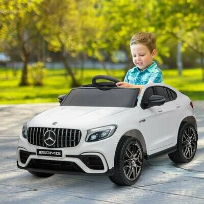 HOMCOM® Kinderfahrzeug Kinderauto Elektroauto Mercedes-Benz GLE Fernbedienung MP3 3–8 Jahre PP Weiß 115 x 70 x 55 cm