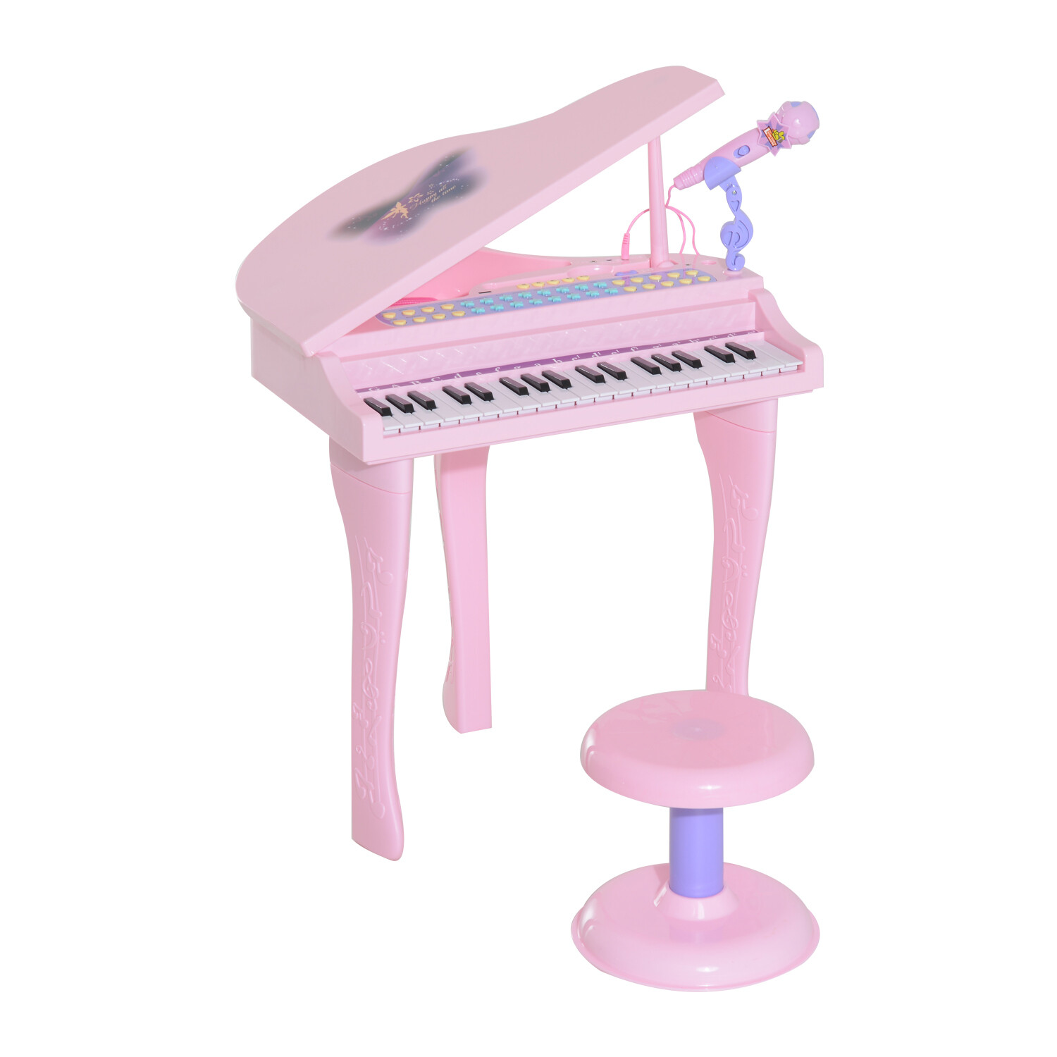 HOMCOM® Kinder Klavier Keyboard Musikinstrument MP3 USB 37 Tasten mit Hocker Rosa