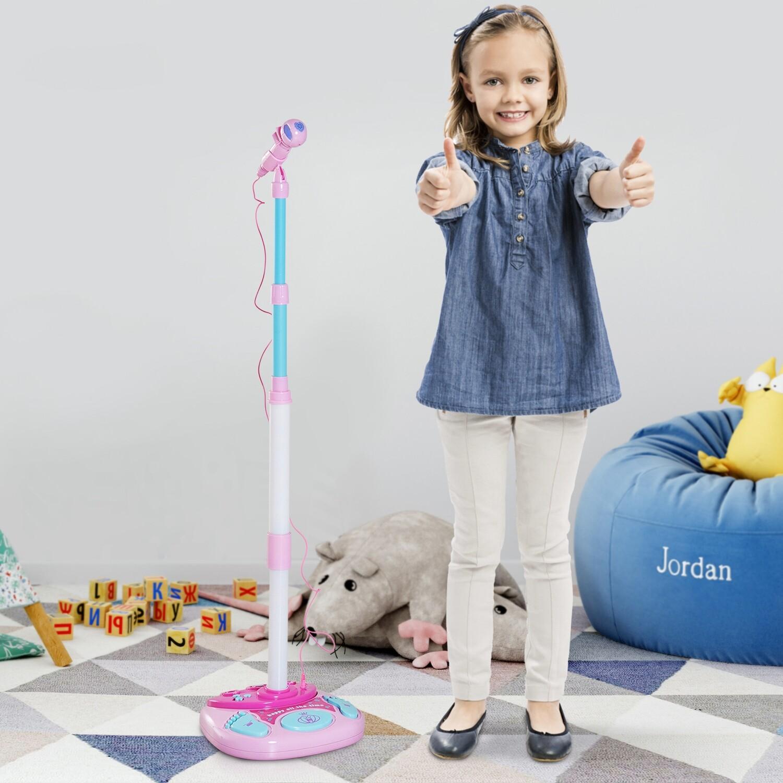 HOMCOM® Kinder Mikrofon Standmikrofon Blinkleuchten Rosa