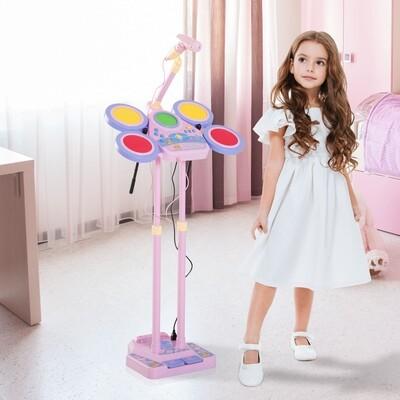 HOMCOM® Kinderschlagzeug Kindertrommel Mikrofon Rosa