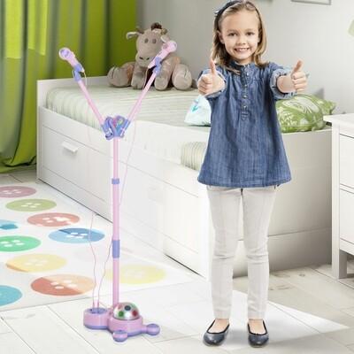 HOMCOM® Kinder Mikrofon Double Standmikrofon Blinkleuchten Rosa