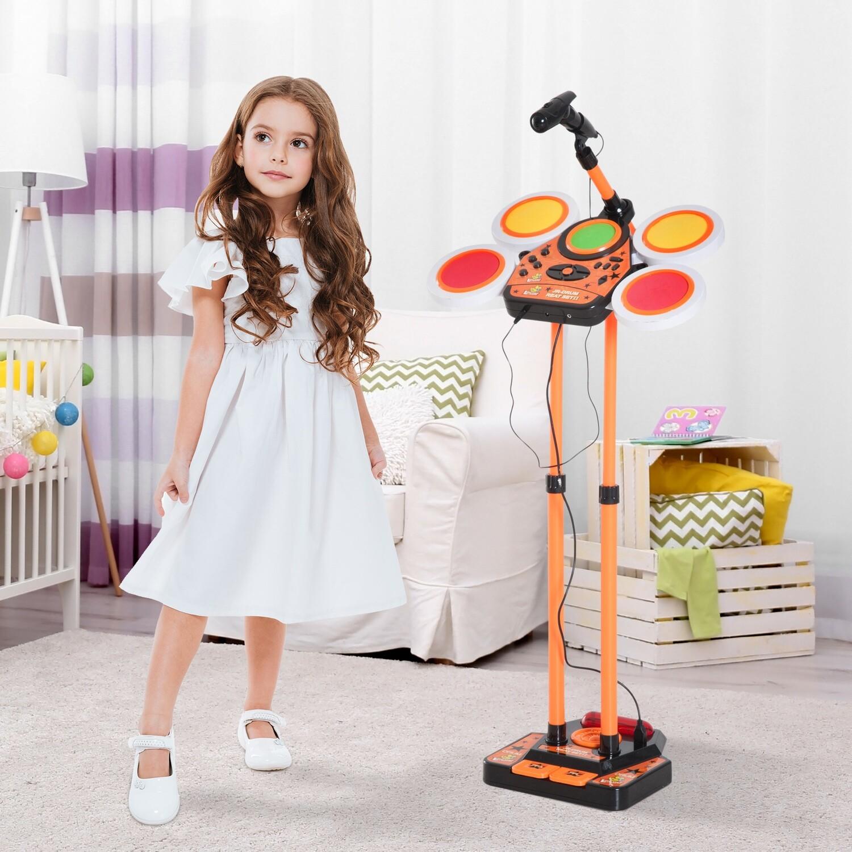 HOMCOM® Kinderschlagzeug Kindertrommel Mikrofon Orange