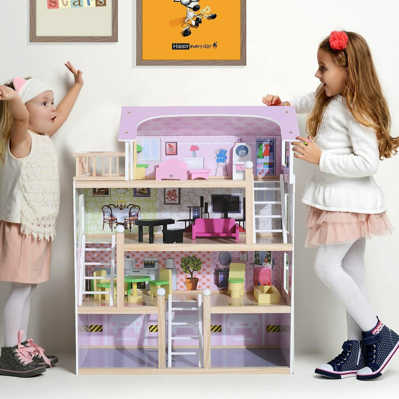 HOMCOM Puppenhaus | 4 Etagen | Möbel | 60 x 30 x 80 cm