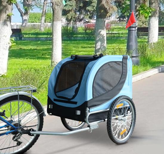 Pawhut Hundeanhänger für Fahrräder   Lastenanhänger   Velo-Anhänger Fahrradanhänger   130 x 90 x 110 cm   Blau und Schwarz