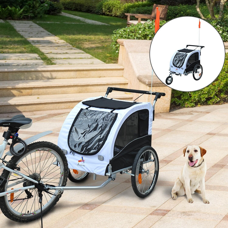 Outlet: Pawhut Hundetransporter Fahrradanhänger oder Schiebewagen | 600D Oxford, Stahl | 130 x 90 x 110 cm | Weiß, Schwarz