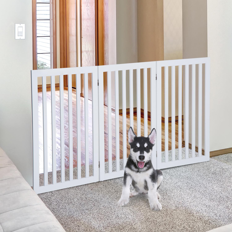 PawHut Absperrgitter | Hundegitter | Faltbar | 154,5 x 1,8 x 91,5 cm | Weiss