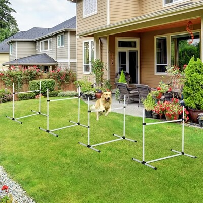 PawHut® Agility Hürdenset Slalom Stangen Hunde Training Set 4 x Hürden Weiss