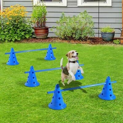 PawHut® Hürden 3er Set Training 6x Kegelhürden 3x Hürdenstangen Blau