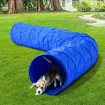 PawHut® Hundetunnel Spieltunnel Agility Training Hunde Tunnel 300D Polyester Blau