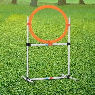 PawHut® Hundetrainingsset Springring für Haustier-Agility-Training tragbar PE Weissc + Orange
