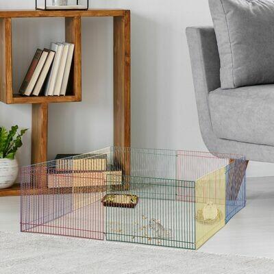 PawHut® Welpenauslauf für Kleintier 8 Elemente Hamsterzaun Laufstall Freilaufgehege Metall Bunt 69 x 69 x 23 cm