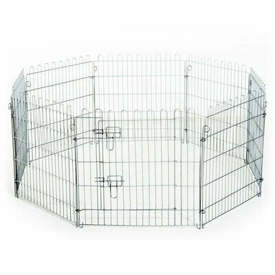 PawHut® Welpenauslauf Laufgitter Laufstall Absperrgitter Kleine Haustiere Viele Formen Schwarz Metall 146 x 73 x 73 cm