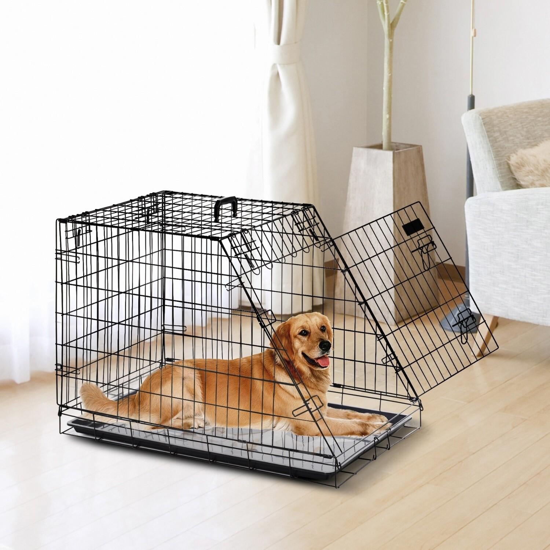 Outlet: PawHut® Hundekäfig Hundebox Faltbarer Welpenkäfig mit Tür Handgriff Bodenschale Metall 93 x 58 x 65 cm
