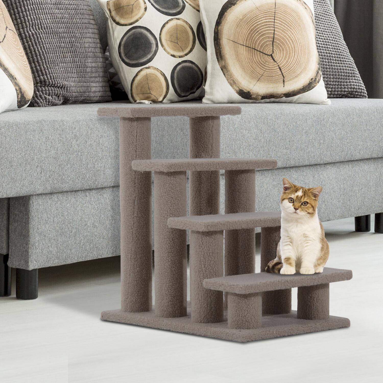 Outlet: PawHut® Tiertreppe Katzentreppe Hundetreppe 4 Stufen Hellbraun