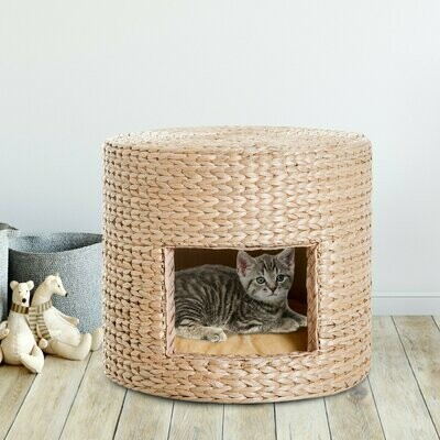 Outlet: PawHut® Katzenhöhle Katzen Korb mit Kissen Stroh Natur